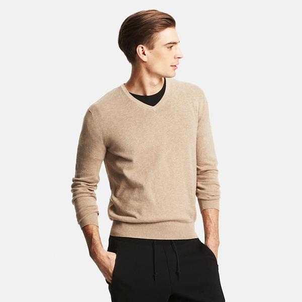 Men Cotton Cashmere V Neck Sweater Countdown Cart